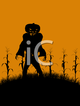 Royalty Free Clipart Image of a Scary Jack-o-Lantern Scarecrow
