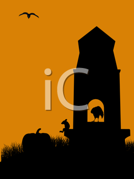 Royalty Free Clipart Image of a Tombstone With Animals and a Pumpkin