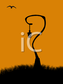 Royalty Free Clipart Image of a Hanging Bell