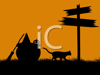 Royalty Free Clipart Image of a Halloween Scene With a Cat and Pumpkin