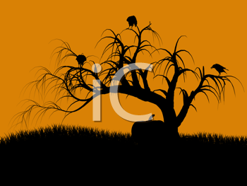 Royalty Free Clipart Image of a Spooky Tree