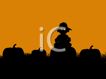 Royalty Free Clipart Image of a Scarecrow in a Pumpkin Patch