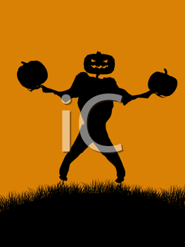 Royalty Free Clipart Image of a Jack-o-Lantern Scarecrow and Pumpkins