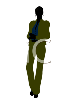 Royalty Free Clipart Image of a Woman in a Green Suit