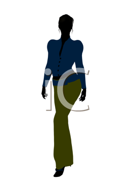 Royalty Free Clipart Image of a Woman in a Blue Top