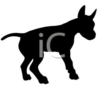 Royalty Free Clipart Image of a Black Dog