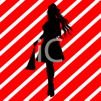 Royalty Free Clipart Image of a Woman in a Santa Hat With Shopping Bags