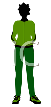 Royalty Free Clipart Image of a Woman in a Jogging Suit