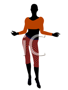Royalty Free Clipart Image of a Woman in Funky Clothes