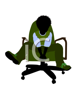 Royalty Free Clipart Image of a Child in a Chair