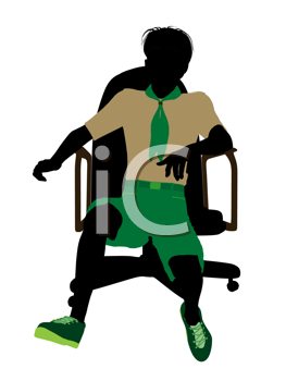 Royalty Free Clipart Image of a Boy Scout in a Chair