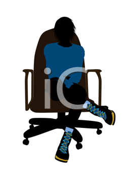 Royalty Free Clipart Image of a Teenage Boy in a Chair