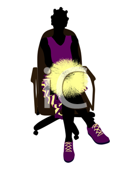 Royalty Free Clipart Image of a Cheerleader in a Chair