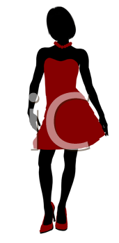 Royalty Free Clipart Image of a Girl in a Party Dress