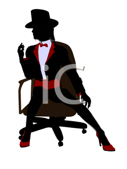 Royalty Free Clipart Image of a Woman in a Top Hat Sitting on a Chair