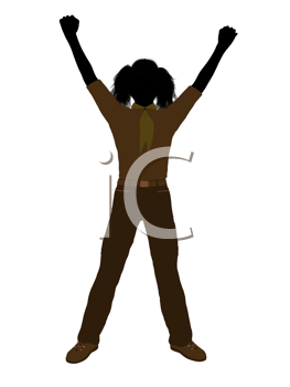 Royalty Free Clipart Image of a Girl With Her Arms Raised