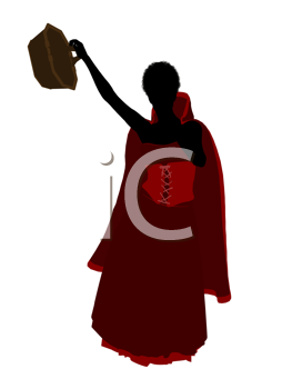 Royalty Free Clipart Image of a Girl Wearing a Cape and Carrying a Basket