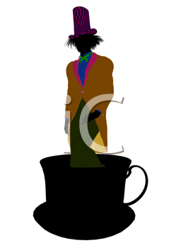 Royalty Free Clipart Image of a Man in a Hat Standing in a Teacup