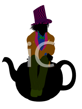 Royalty Free Clipart Image of a Man Wearing a Hat Sitting on a Teapot
