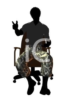 Royalty Free Clipart Image of a Man in Camouflage Pants Sitting in a Chair
