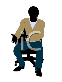 Royalty Free Clipart Image of a Man in a Chair