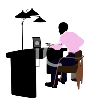 Royalty Free Clipart Image of a Man at a Desk With a Lamp