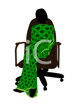 Royalty Free Clipart Image of a Woman in Pyjamas Sitting in a Chair
