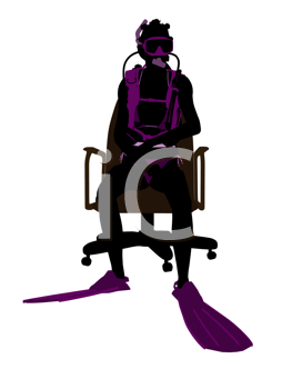 Royalty Free Clipart Image of a Scuba Diver in a Chair