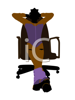 Female teen skier sitting on a chair silhouette on a white background