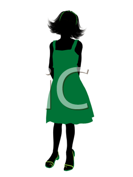 Royalty Free Clipart Image of a Girl in a Green Dress