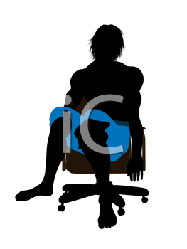 Royalty Free Clipart Image of a Guy Wearing Swimming Trunks While Sitting in a Chair