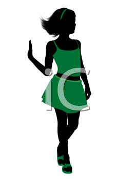 Royalty Free Clipart Image of a Girl in Green