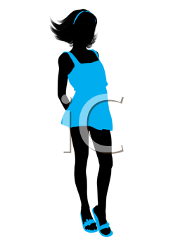 Royalty Free Clipart Image of a Girl in Blue