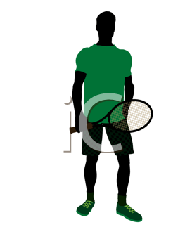 Royalty Free Clipart Image of a Man Holding a Tennis Racket