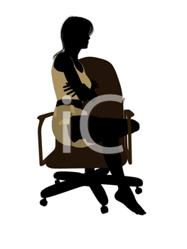 Royalty Free Clipart Image of a Woman in Underwear Sitting on a Chair