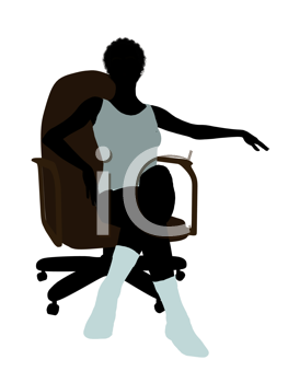 Royalty Free Clipart Image of a Woman in Underwear Sitting in a Chair
