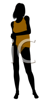 Royalty Free Clipart Image of a Woman in Her Underwear