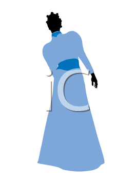 Royalty Free Clipart Image of a Woman in a Blue Dress