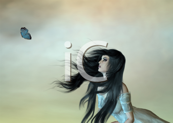 Woman looking at butterfly on opaque background