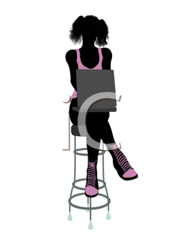 Royalty Free Clipart Image of a Girl on a Stool With a Computer
