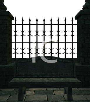 Royalty Free Clipart Image of a Metal Fence With Stone Pillars