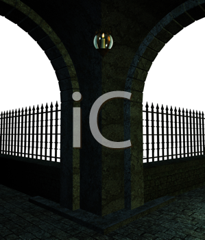 Royalty Free Clipart Image of a Street Corner With Lamps