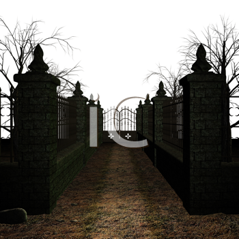 Royalty Free Clipart Image of a Fence and Stone Pillars