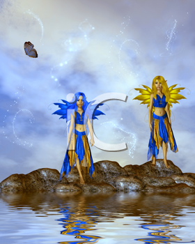 Royalty Free Clipart Image of Fairies Standing on  Rock in the Ocean