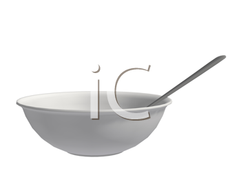 Royalty Free Clipart Image of a Bowl and Spoon