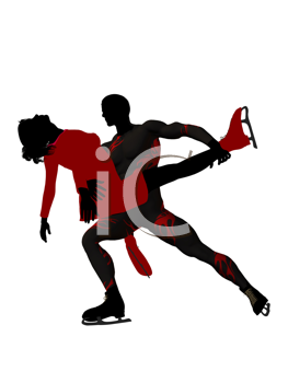 Royalty Free Clipart Image of a Couple Skating