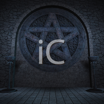 Royalty Free Clipart Image of a Pentagram Background