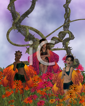 Royalty Free Clipart Image of Three Fairies in Flowers