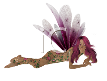 Pink fairy laying down with arms folded