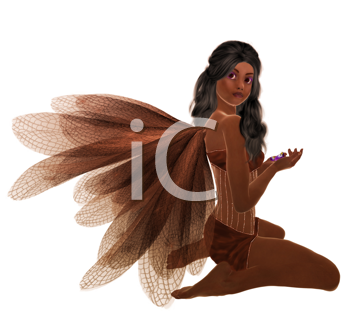 Royalty Free Clipart Image of a Kneeling Fairy